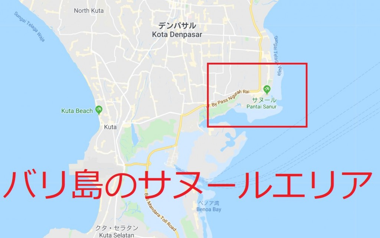 バリ島サヌールエリアの地図